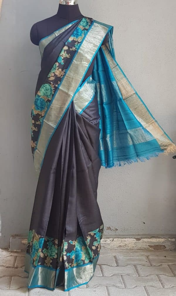 Black zari border tussar saree with blue floral print 1