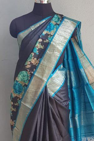 Black zari border tussar saree with blue floral print 2