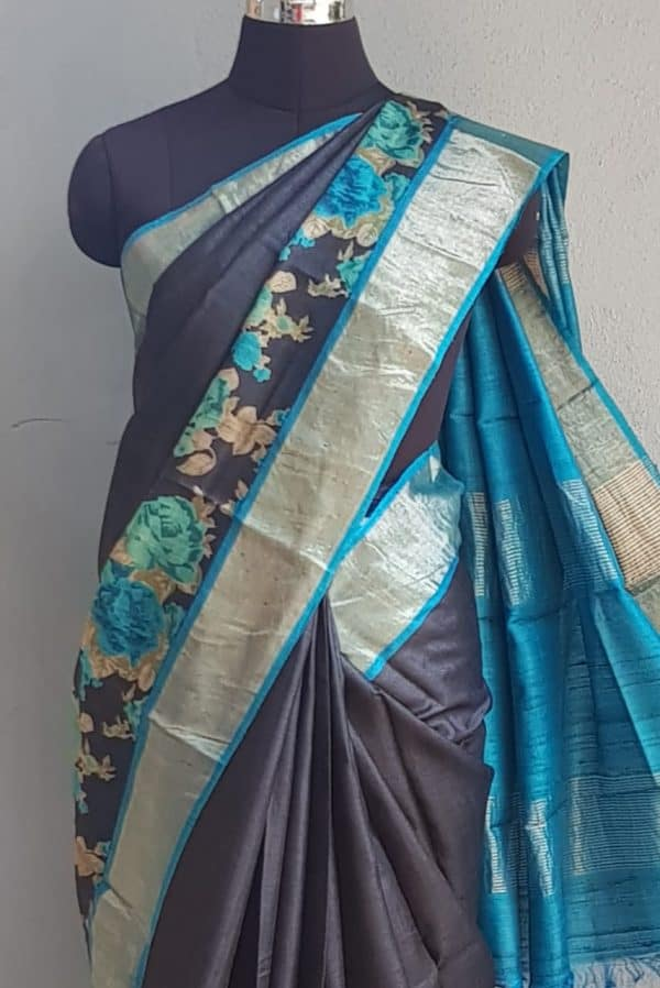 Black zari border tussar saree with blue floral print 2
