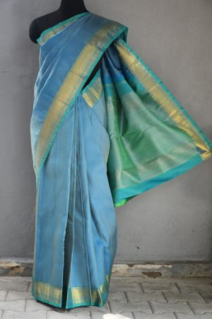 Blue checks kanchi silk saree 1