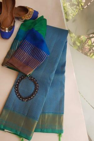 Blue rudraksham design silk saree