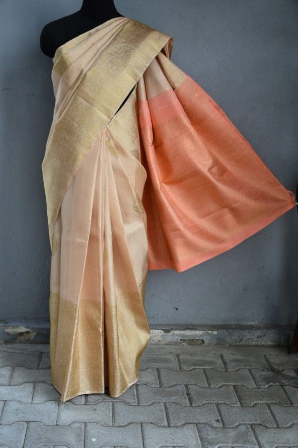 Cream long border kanchi silk saree 1