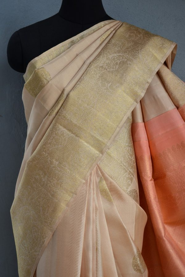 Cream long border kanchi silk saree 3