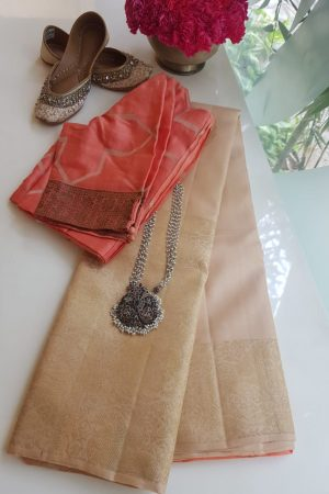 Cream long border kanchi silk saree