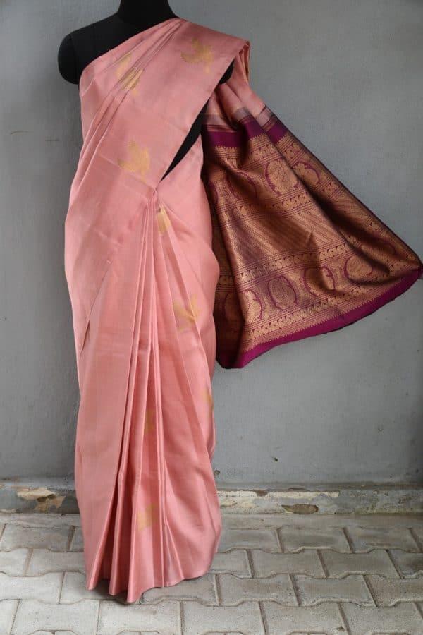 Dusty pink bird design kanchi silk saree 1
