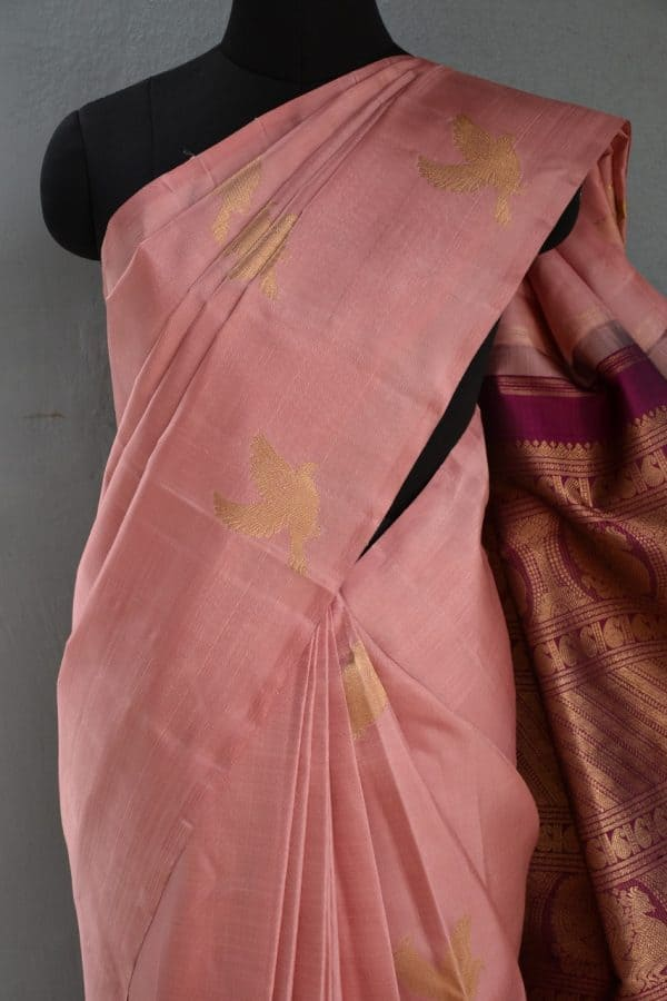 Dusty pink bird design kanchi silk saree 2.