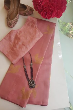 Dusty pink bird design kanchi silk saree
