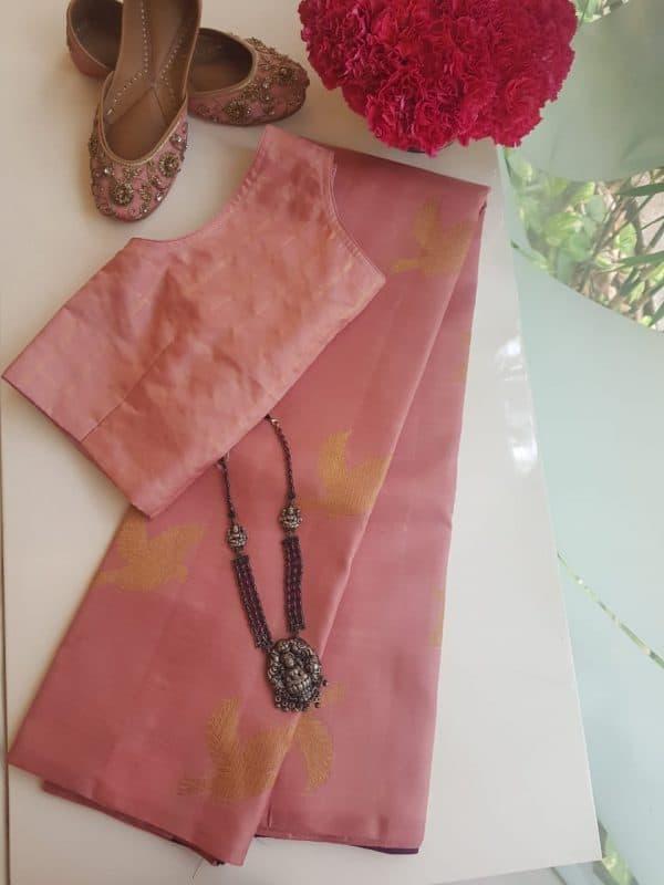 Dusty pink bird design kanchi silk saree