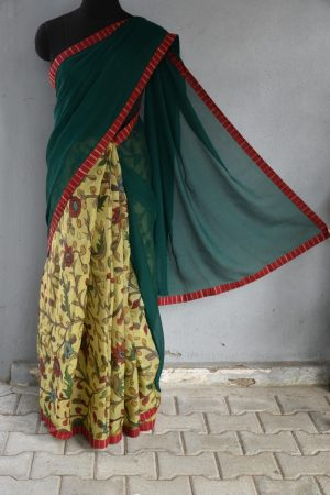Green chiffon with organza kalamkari fusion saree