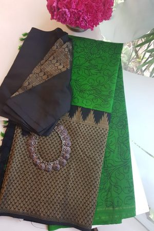 Green kanchi kalmakari saree with zari border