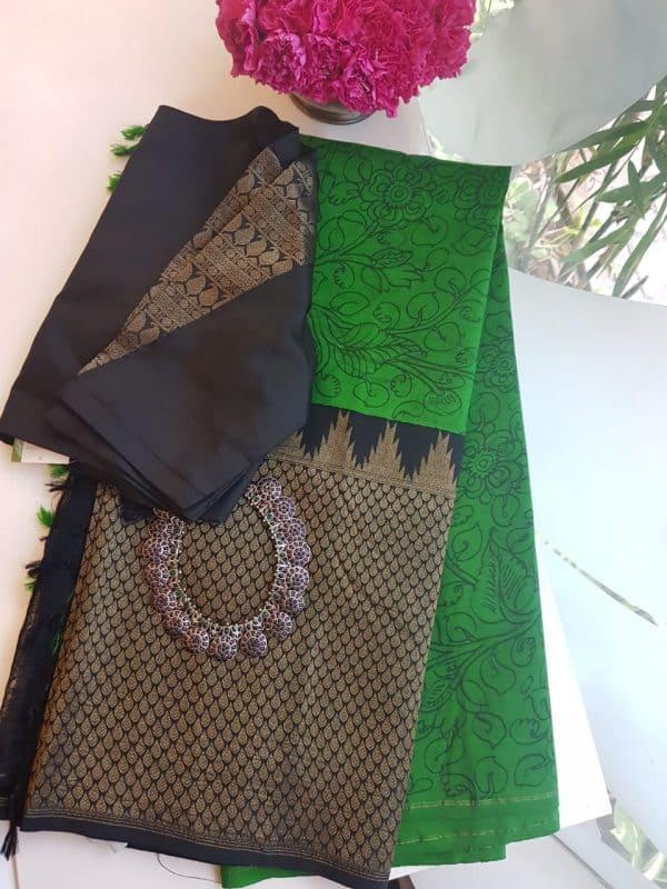 Green kanchi kalmakari saree with zari border