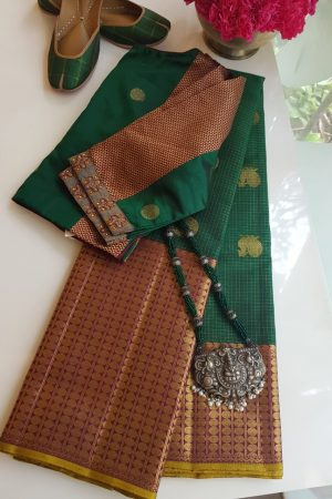 Green pink long border kanchi silk saree