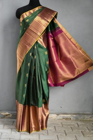 Green pink long border kanchi silk saree 1