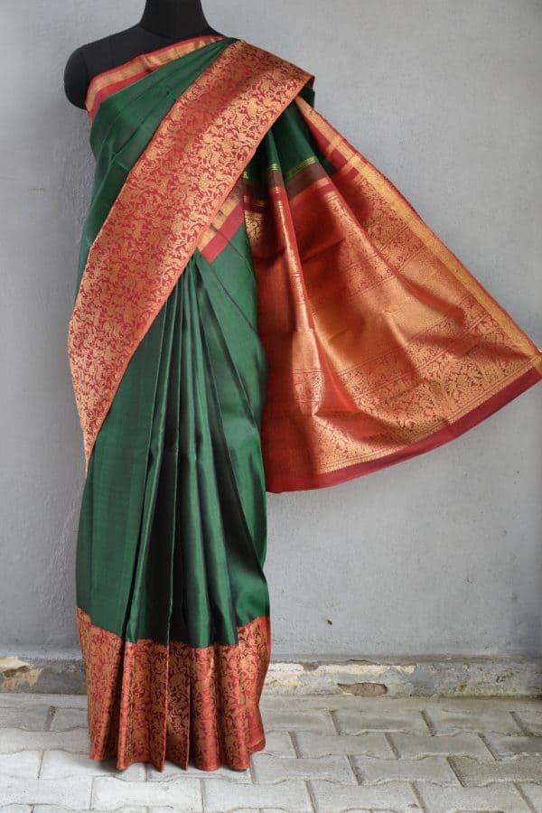 Green red vanasingaram kanchi silk saree 1