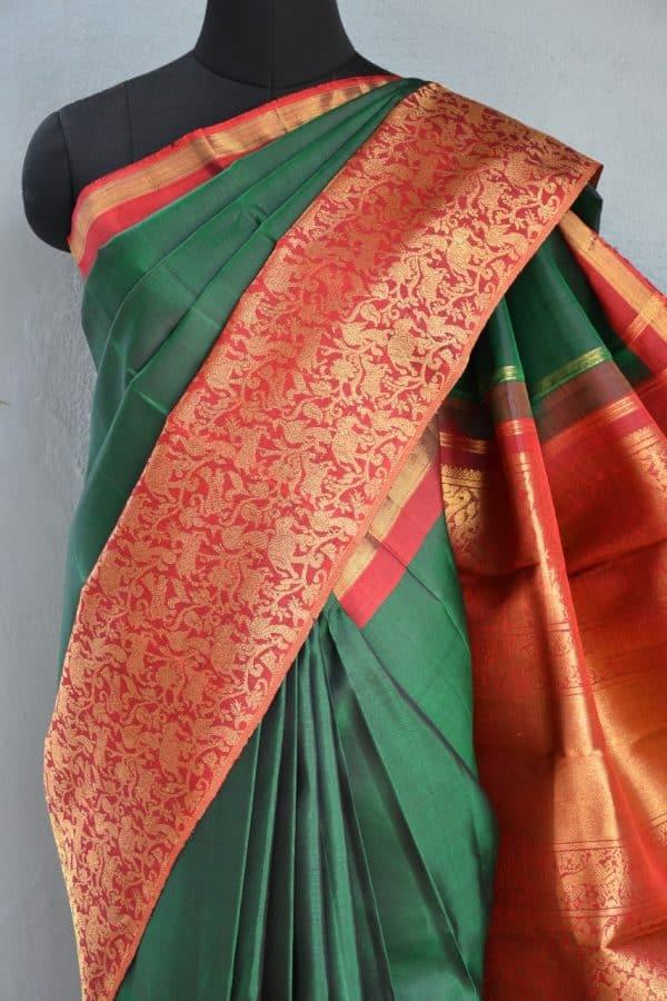 Green red vanasingaram kanchi silk saree 2