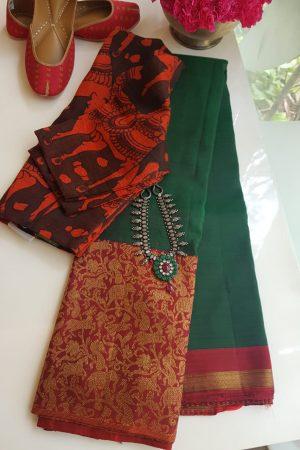 Green red vanasingaram kanchi silk saree