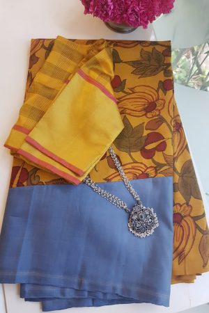 Grey and yellow rising border kanchi kalamkari saree
