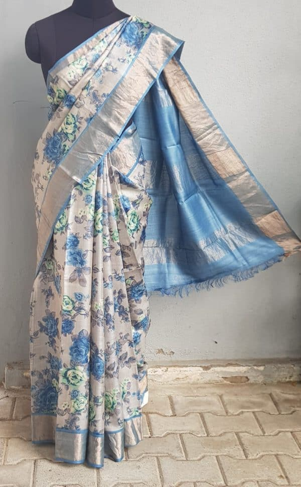 Grey blue floral print zari border tussar saree 1
