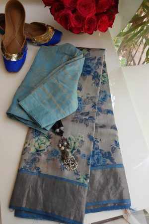 Grey blue floral print zari border tussar saree
