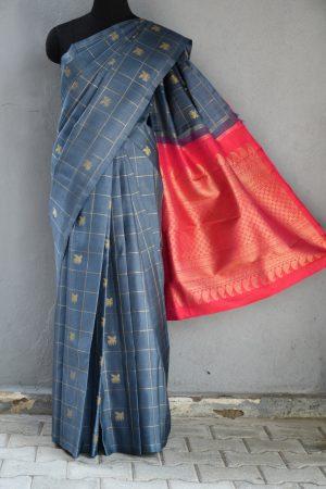 Grey kanchi silk saree with kattam butta 1