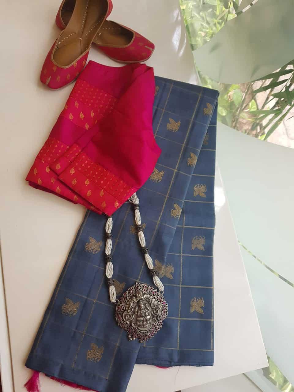 Grey kanchi silk saree with kattam butta