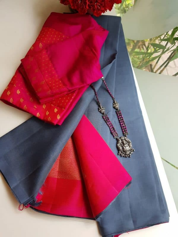 Grey kanchi silk saree with pink brocade pallu