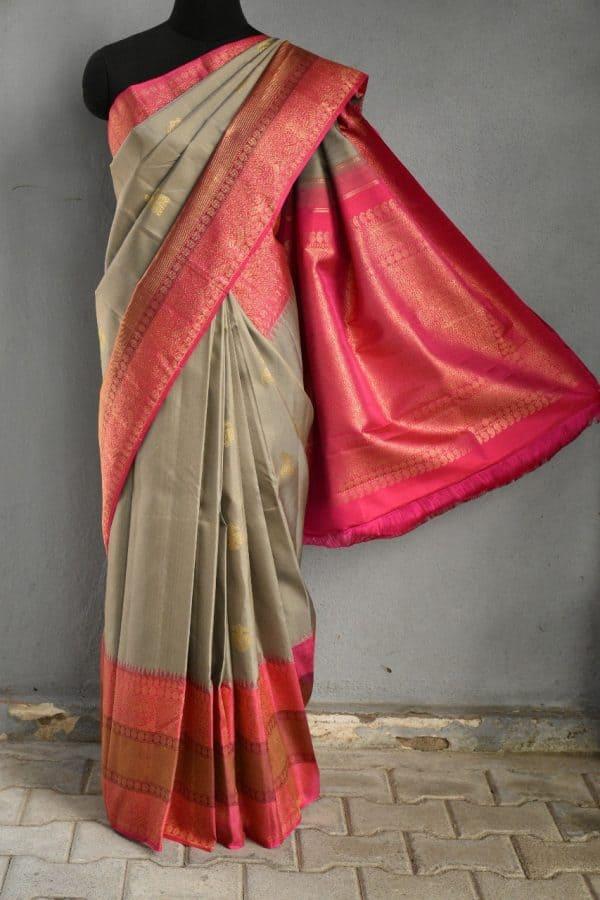 Grey pink korvai long border kanchi silk saree 1