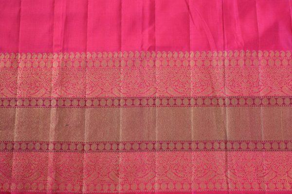 Grey pink korvai long border kanchi silk saree 2