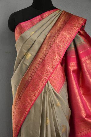 Grey pink korvai long border kanchi silk saree 3