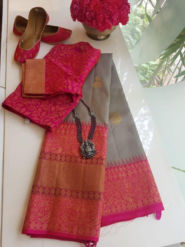 Grey pink korvai long border kanchi silk saree