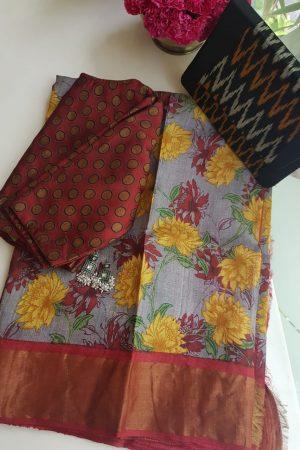 Grey red carnation print zari border tussar saree