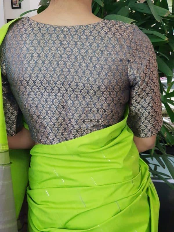 Grey silk brocade blouse back