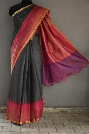 Grey with pink zari border tussar saree 1