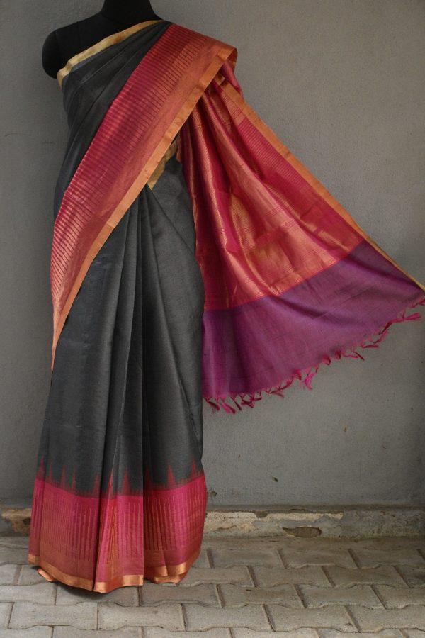 Grey with pink zari border tussar saree 1