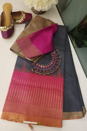 Grey with pink zari border tussar saree
