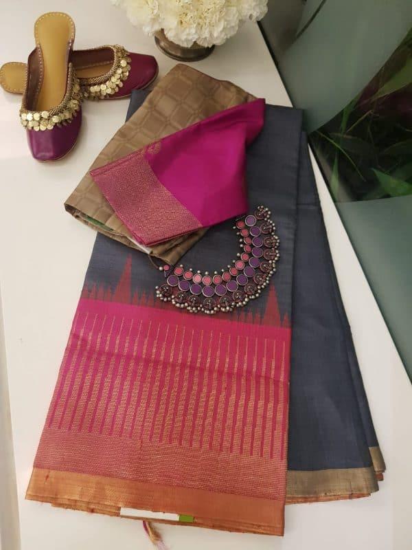 Grey with pink zari border tussar saree