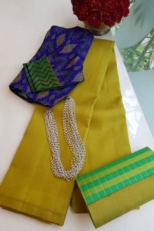 Lavanyam plain light olive kanchi silk saree