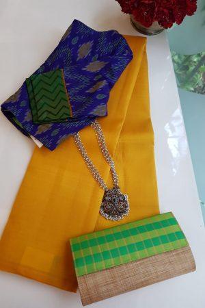 Lavanyam plain mustard kanchi silk saree