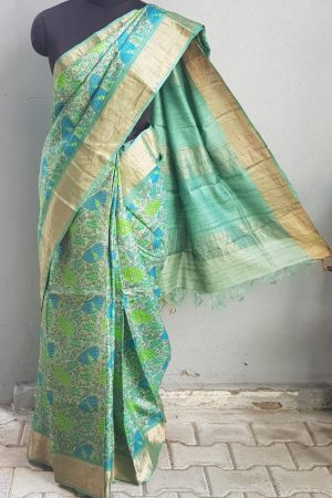 Leaf green teal zari border floral print tussar saree