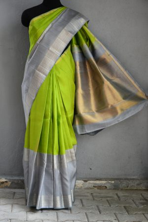 Lemon green grey long border korvai kanchi silk saree 1