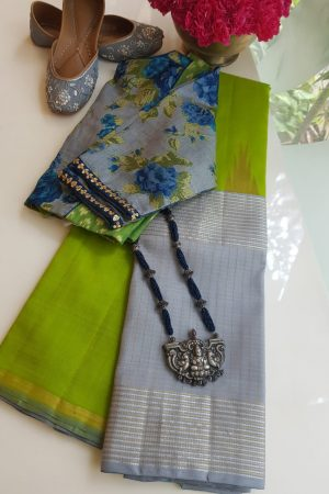 Lemon green grey long border korvai kanchi silk saree