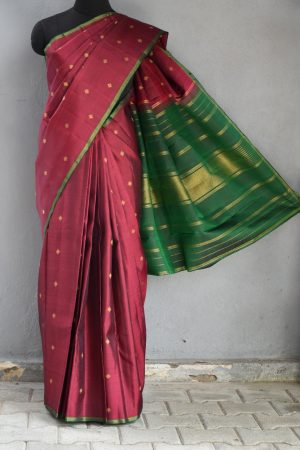 Maroon simple kancheepuram silk saree 1