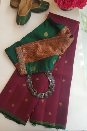 Maroon simple kancheepuram silk saree