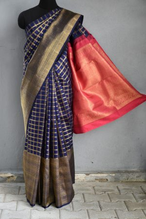 Navy blue checks long border kanchi silk saree 1