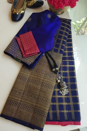 Navy blue checks long border kanchi silk saree