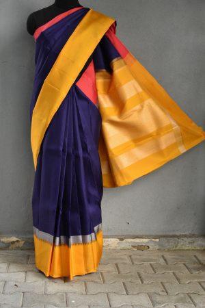 Navy blue korvai kanchi silk saree