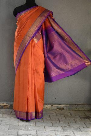 Orange rudraksham design silk saree 2