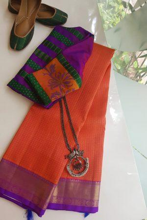 Orange rudraksham design silk saree