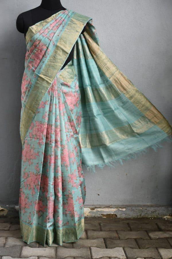 Pale teal rose print zari border tussar saree 1