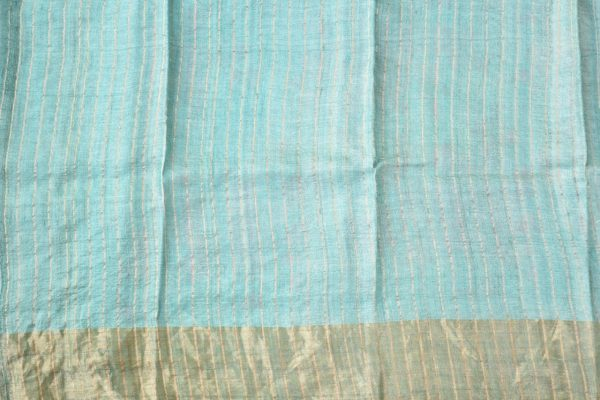Pale teal rose print zari border tussar saree 2